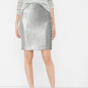 Silver Sequin WHBM Pencil Skirt (NWT)